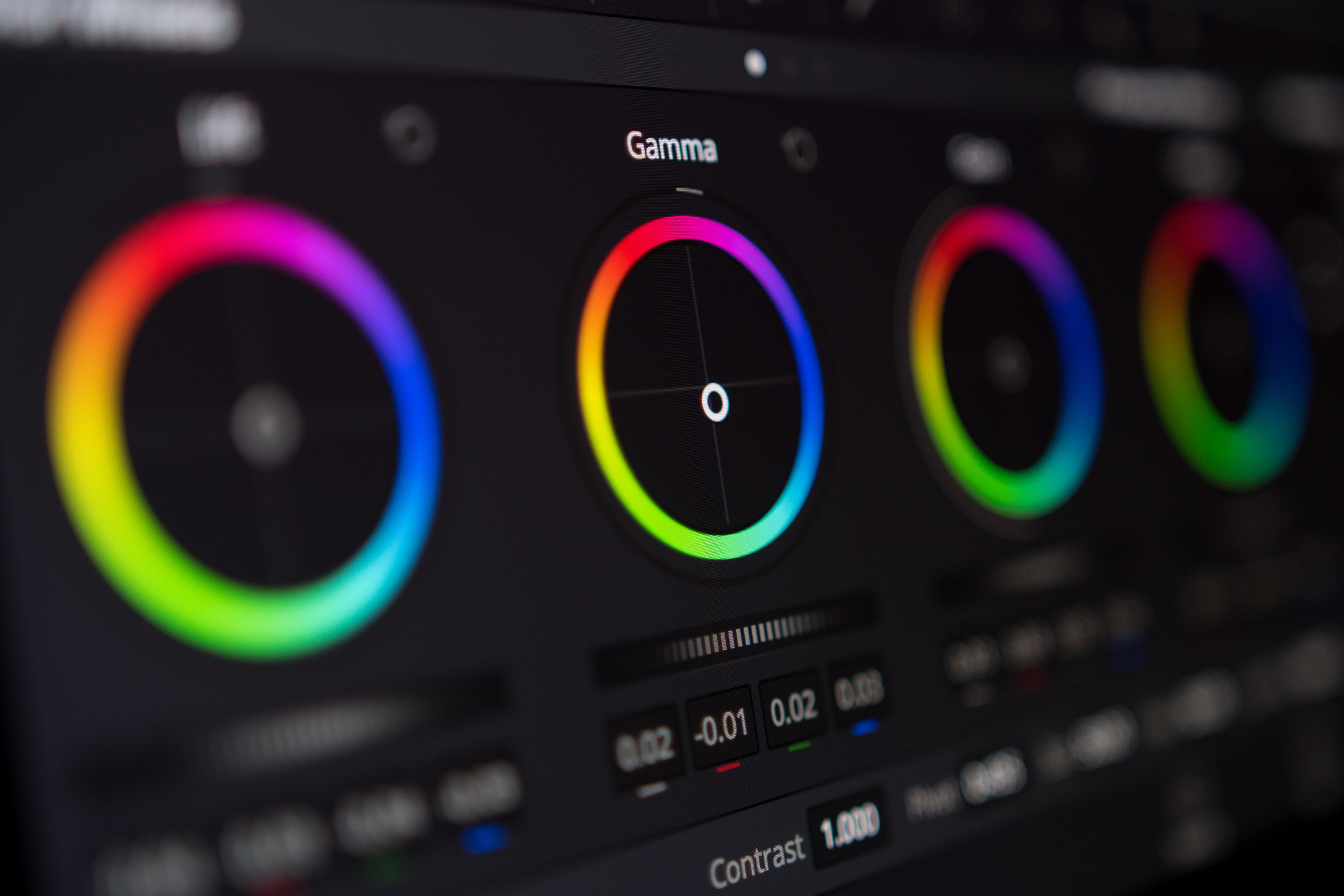 Video editing – Color correction screen close up